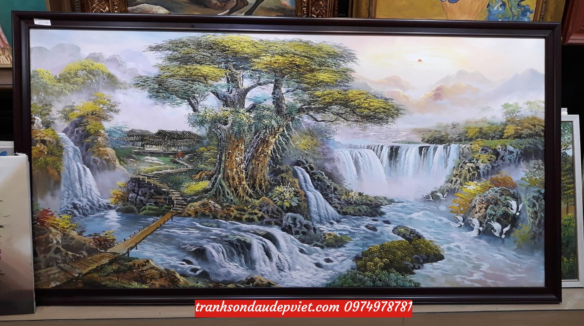 Tranh sơn dầu sơn thủy hữu tình, tranh sơn thủy  phòng khách SD0024