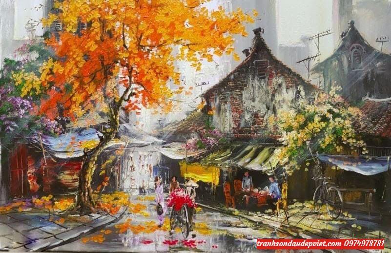Tranh phố cổ hà nội, tranh sơn dầu SD019