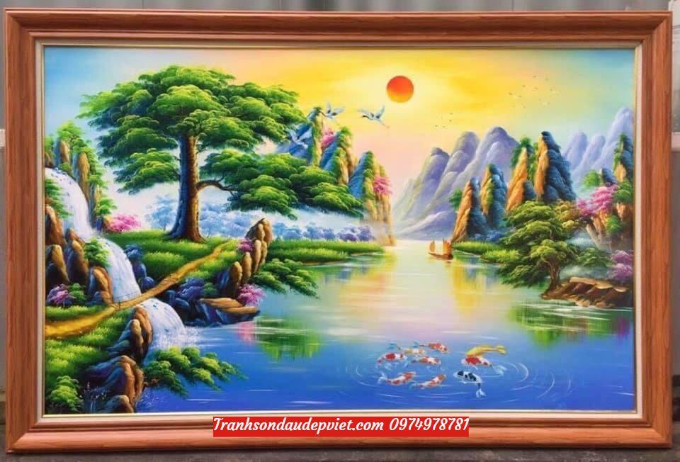 Tranh sơn thủy, tranh phong cảnh sơn thủy hữu tình đẹp SD0023