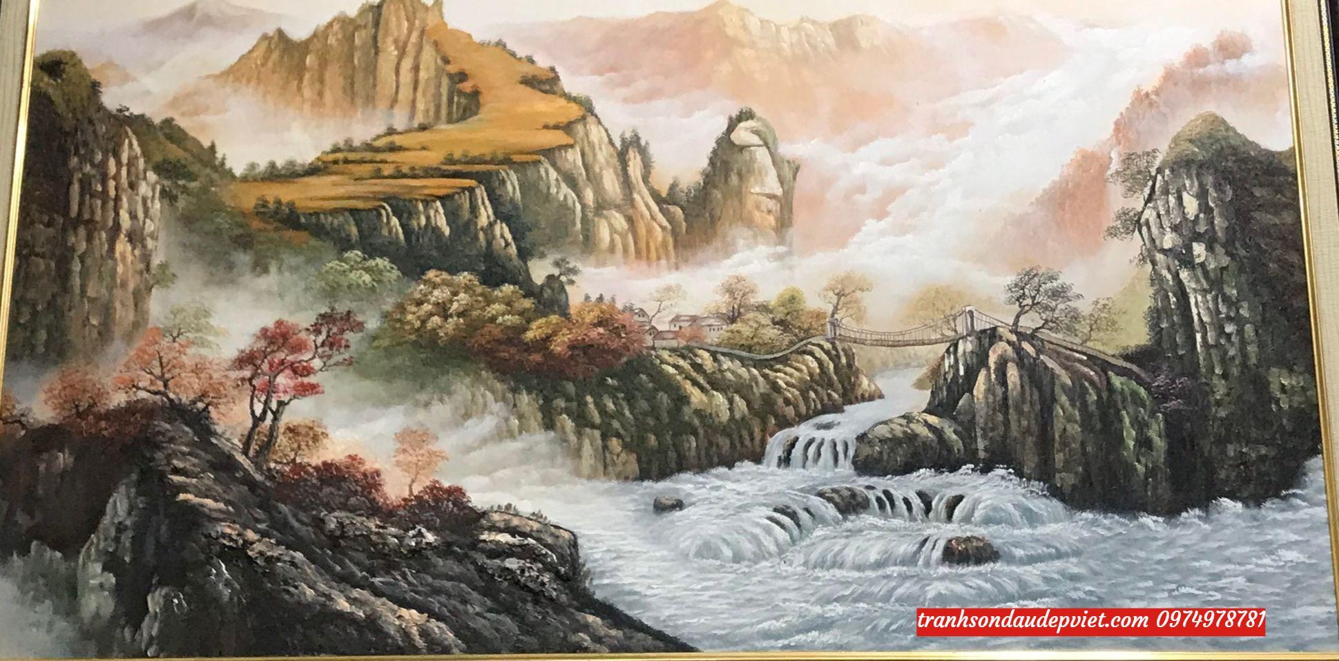 Tranh sơn thủy hữu tình, tranh treo phòng khách SB015