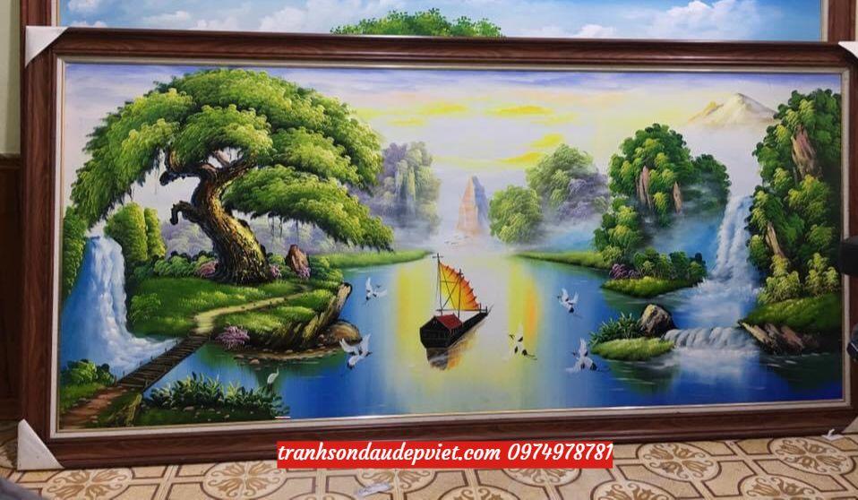 Tranh sơn dầu sơn thủy, tranh phong cảnh sơn thủy SD015