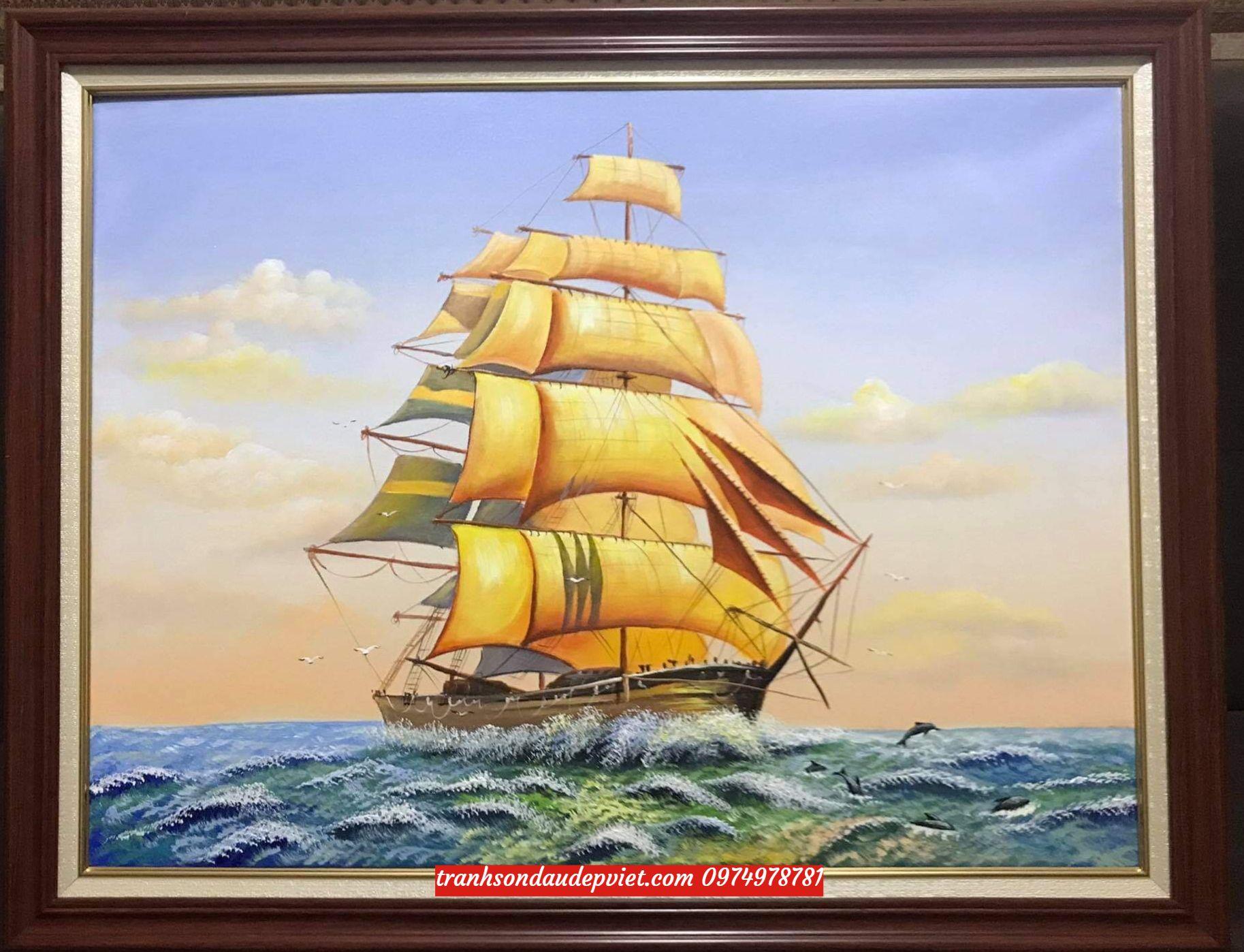 Tranh thuận buồm xuôi gió, tranh sơn dầu treo ý nghĩa SB08