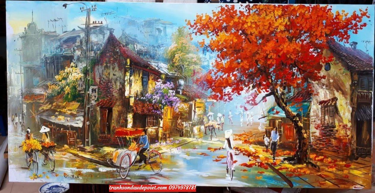 Tranh phố cổ hà nội, tranh vẽ sơn dầu SD0049