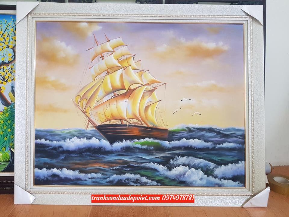 Tranh thuận buồm xuôi gió, tranh sơn dầu thuyên buồm SB54