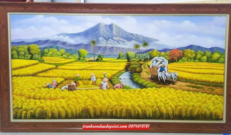 Tranh đồng quê cánh đồng lúa chín, tranh sơn dầu SD0045