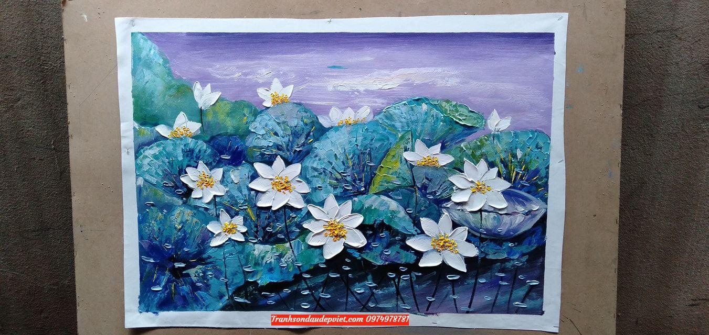 Tranh sơn dầu hoa sen hiện đại SD061
