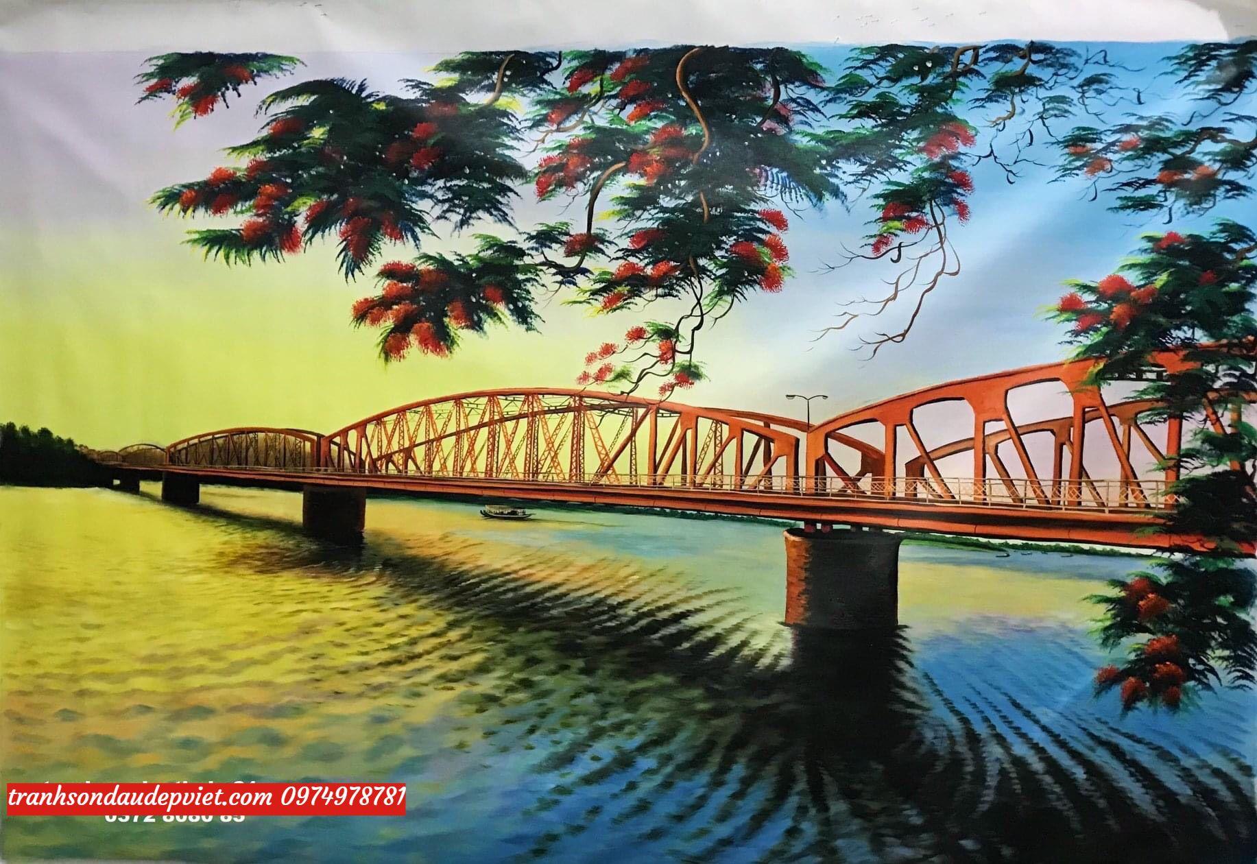 Tranh cầu long biên, tranh sơn dầu cầu long biên SD066