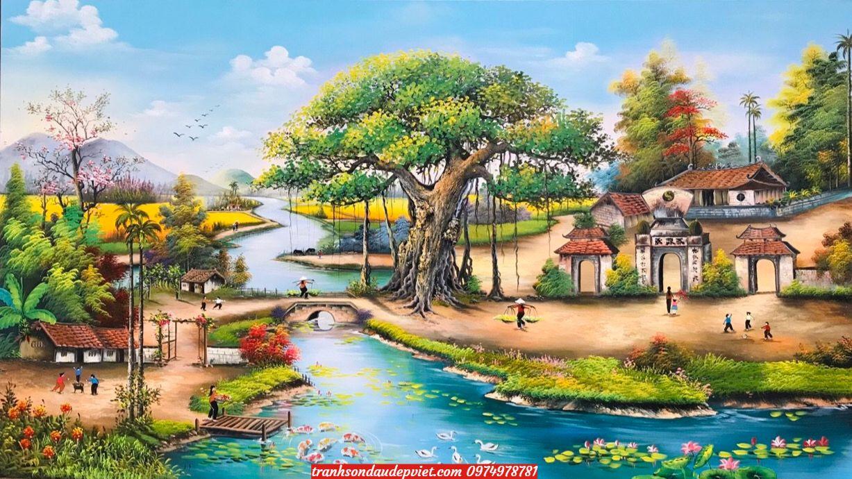 Tranh sơn dầu đồng quê làng quê việt nam SB080