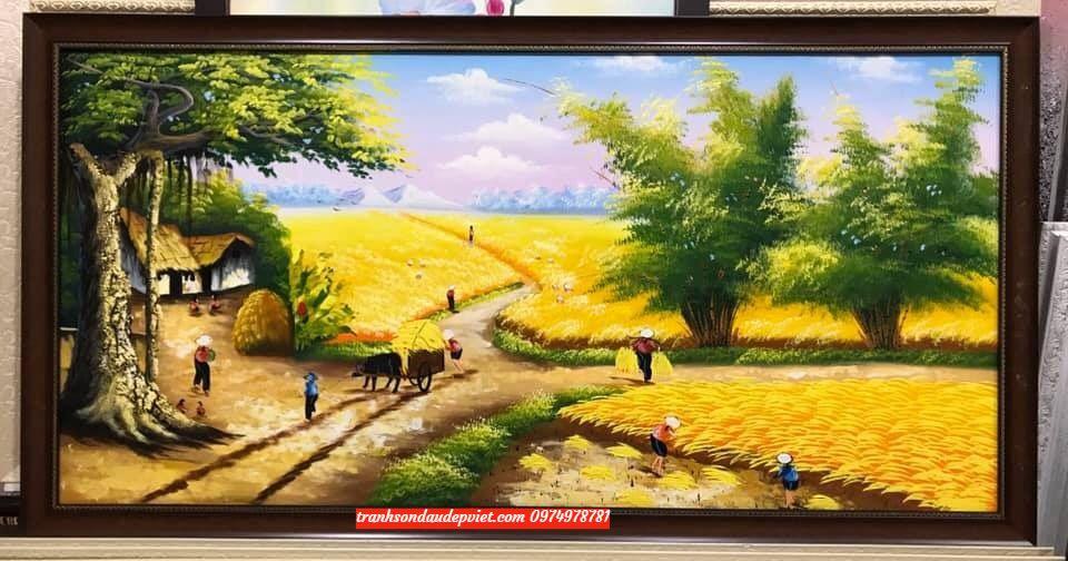 Tranh đồng quê tranh sơn dầu đồng quê viêt nam lúa chín SB065