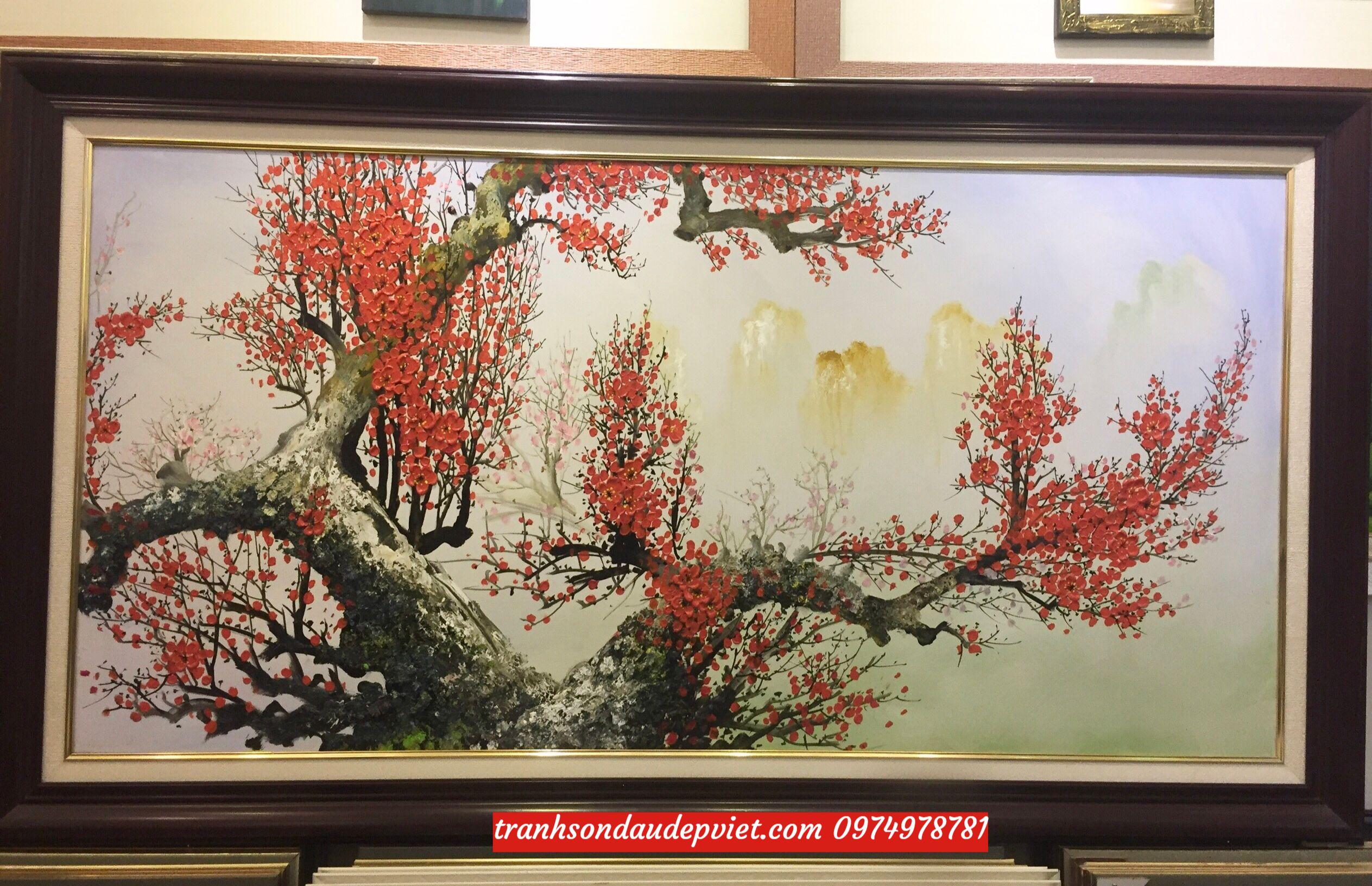 Tranh hoa đào tranh sơn dầu hoa đào treo phòng khách SB077