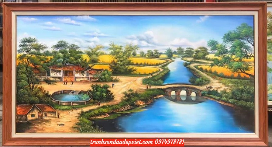 Tranh phong cảnh đồng quê, tranh làng quê tranh sơn dầu đồng quê SB074