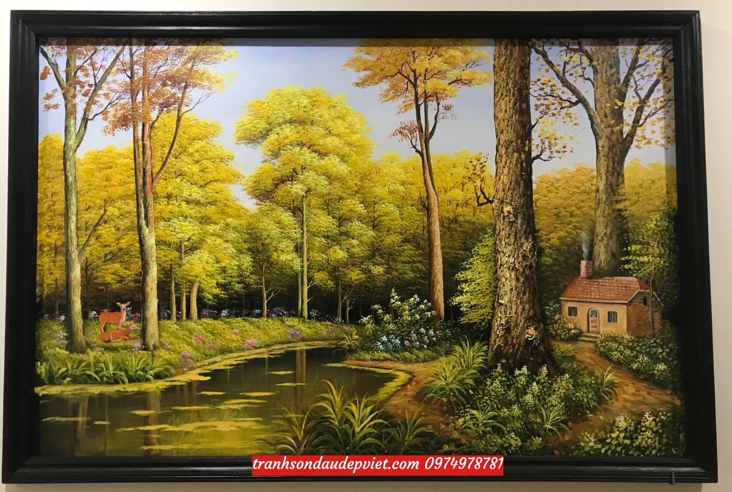 Tranh sơn dầu phong cảnh rừng cây lá vàngSB24