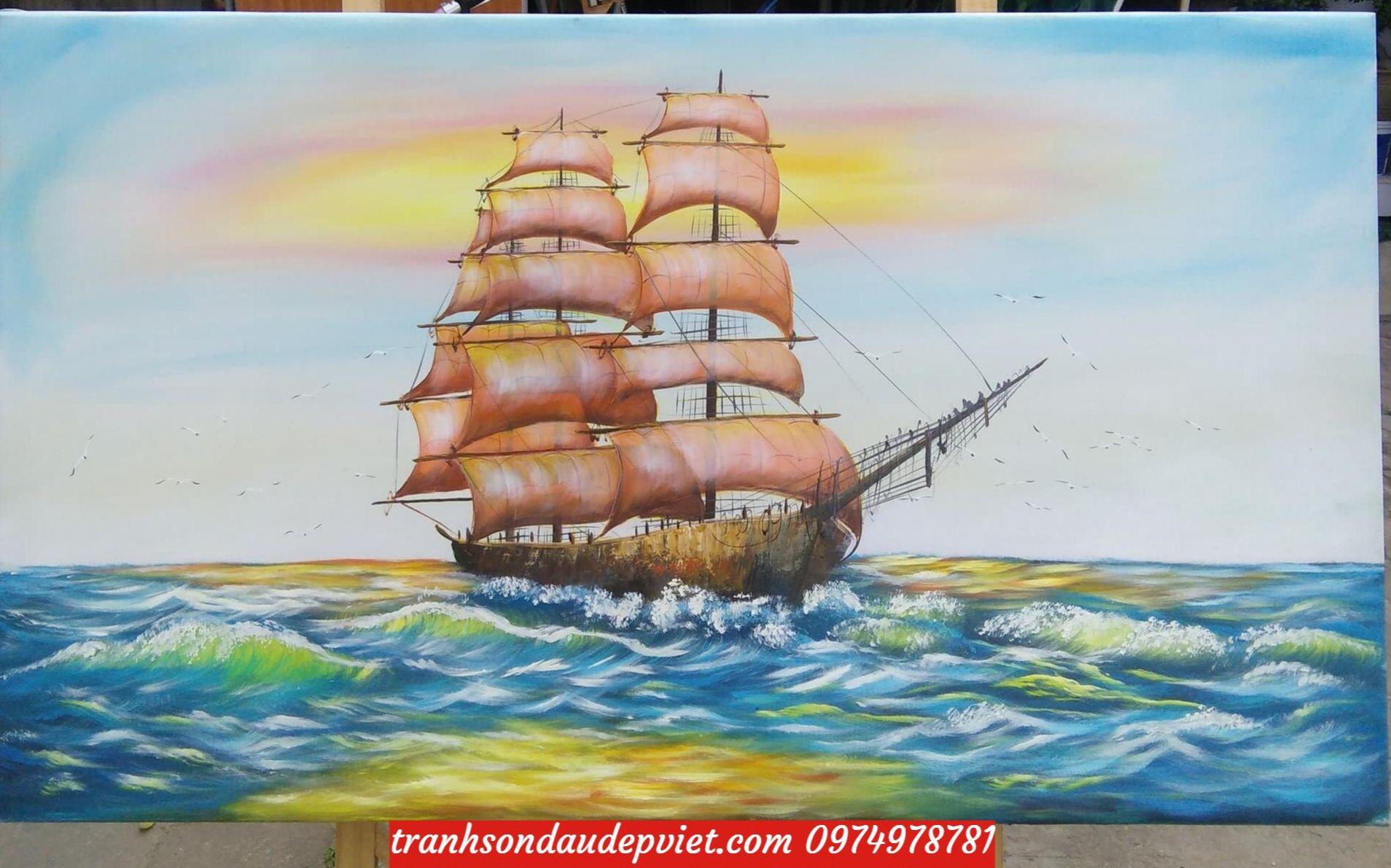 Tranh thuận buồm xuôi gió, tranh vẽ sơn dầu ý nghĩa