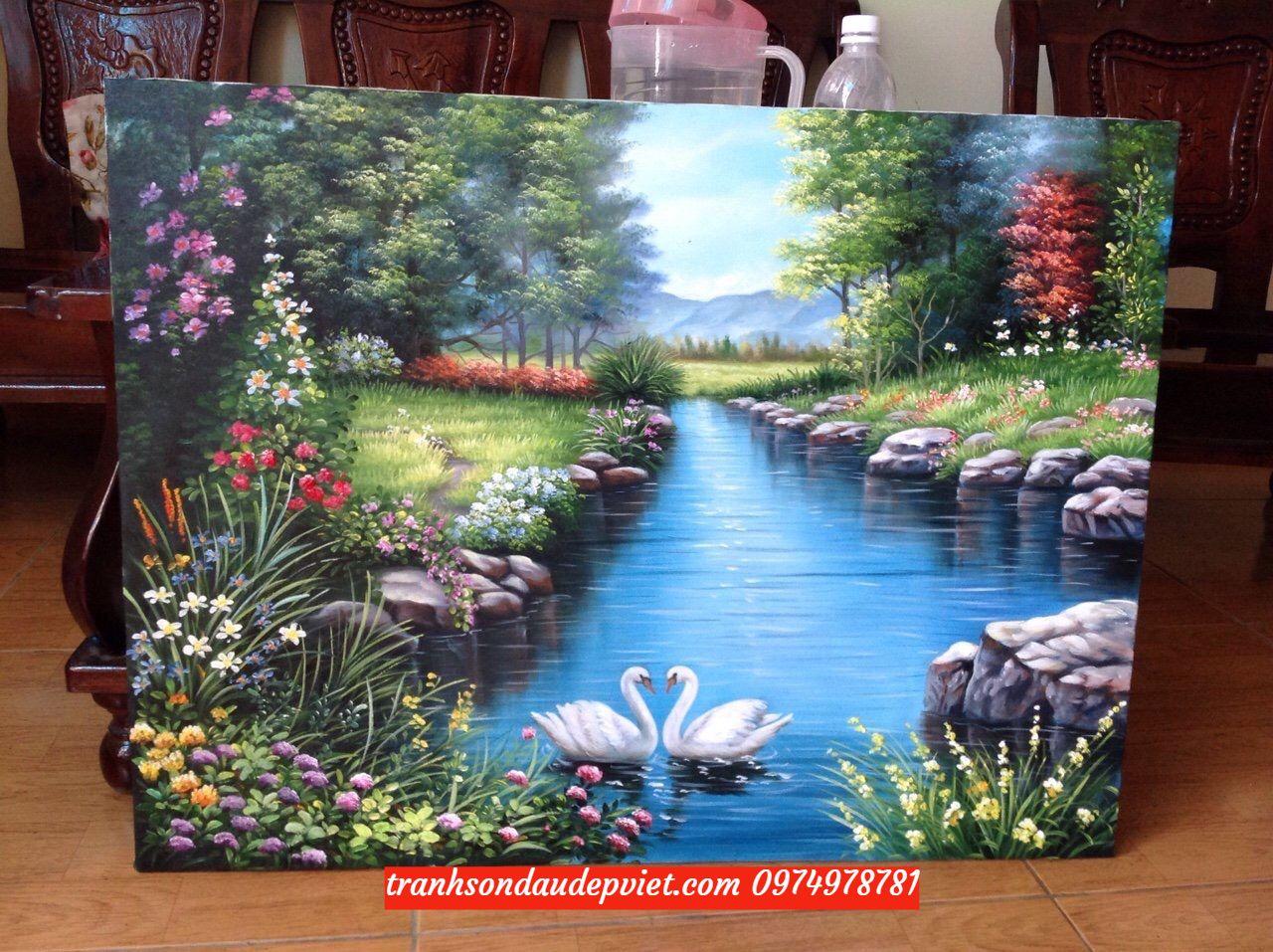 Tranh thiên nga , tranh sơn dầu phong cảnh thiên nga SB079