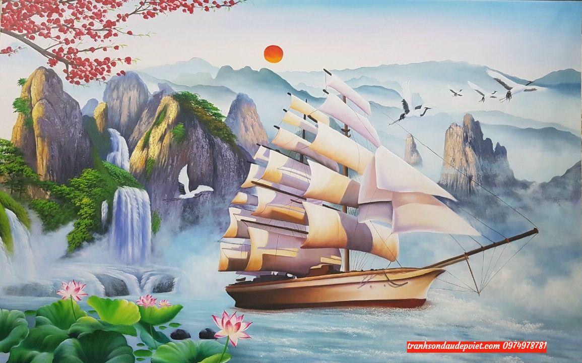 tranh sơn dầu thuần buồm xuôi gió