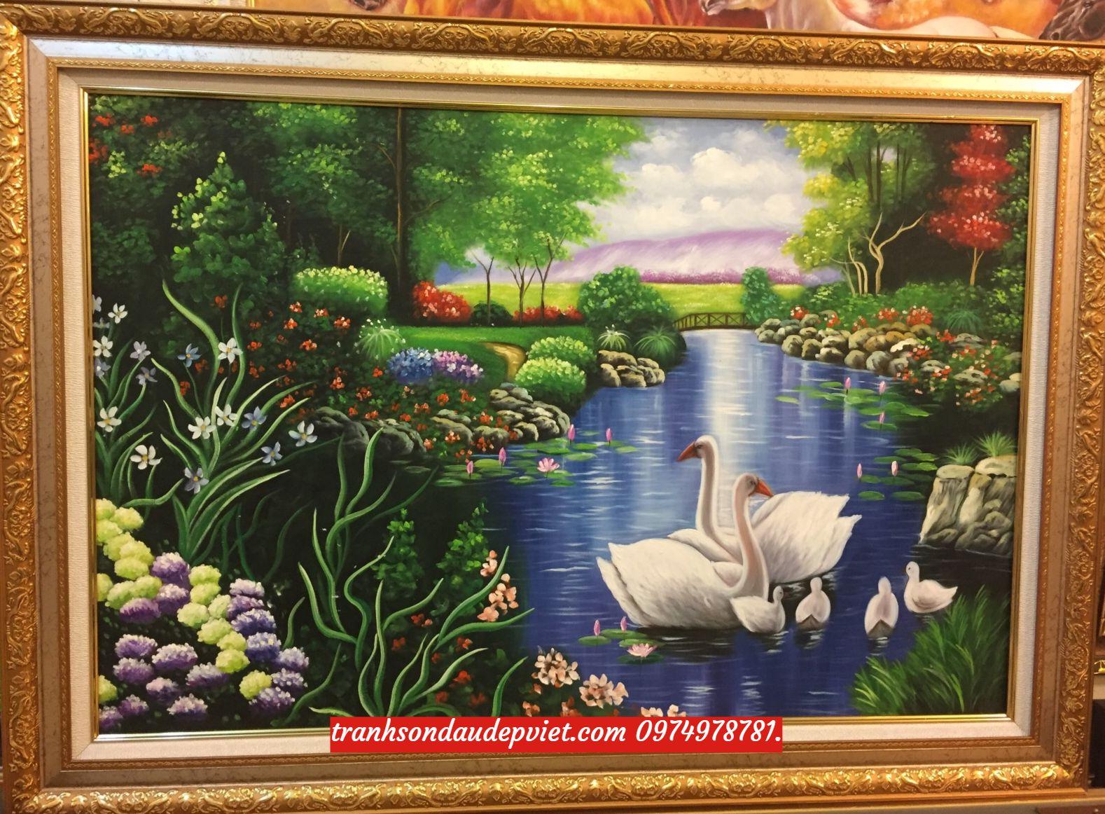Tranh thiên nga tranh sơn dầu phong cảnh đôi thiên nga