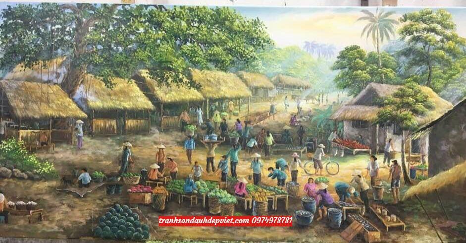 Tranh phong cảnh đồng quê chợ quê việt nam SB082