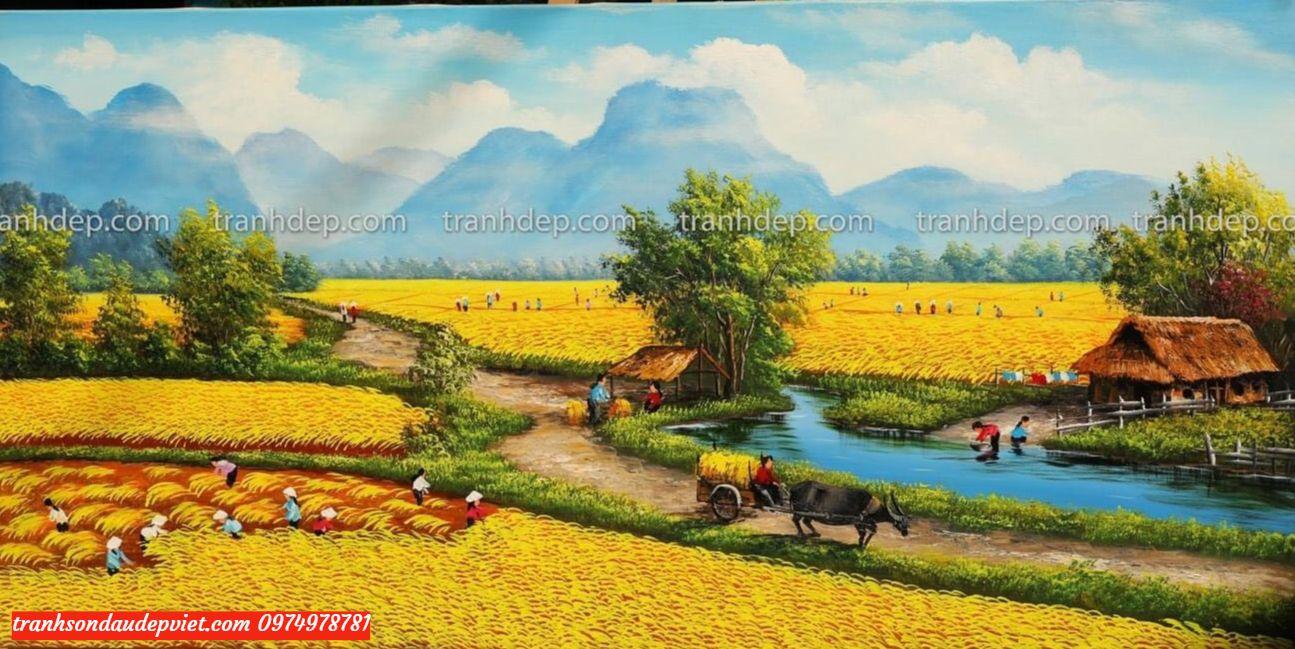 Tranh đồng quê tranh sơn dầu đồng quê mùa vụ gặt lúa
