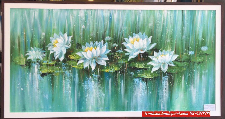 Tranh hiện đại hoa sen, Tranh sơn dầu SB083