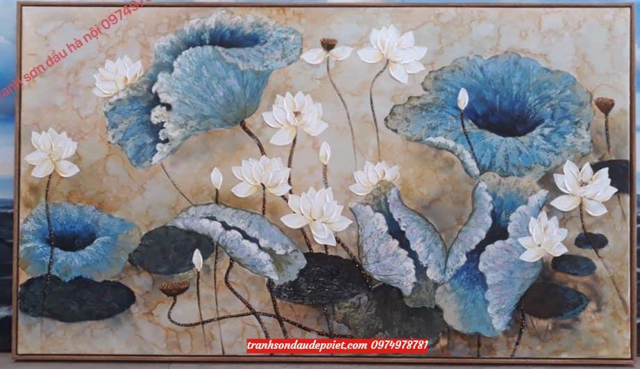 Tranh hoa sen, tranh sơn dầu hoa sen hiện đại