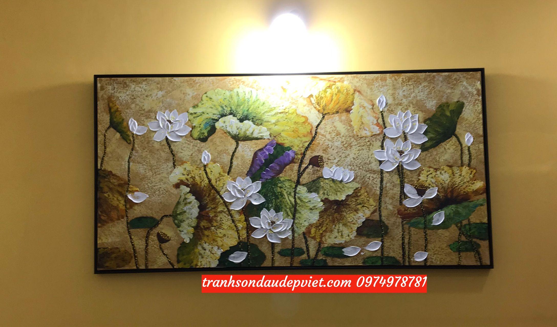Tranh sơn dầu hoa sen, tranh hoa sen hiện đại SB081