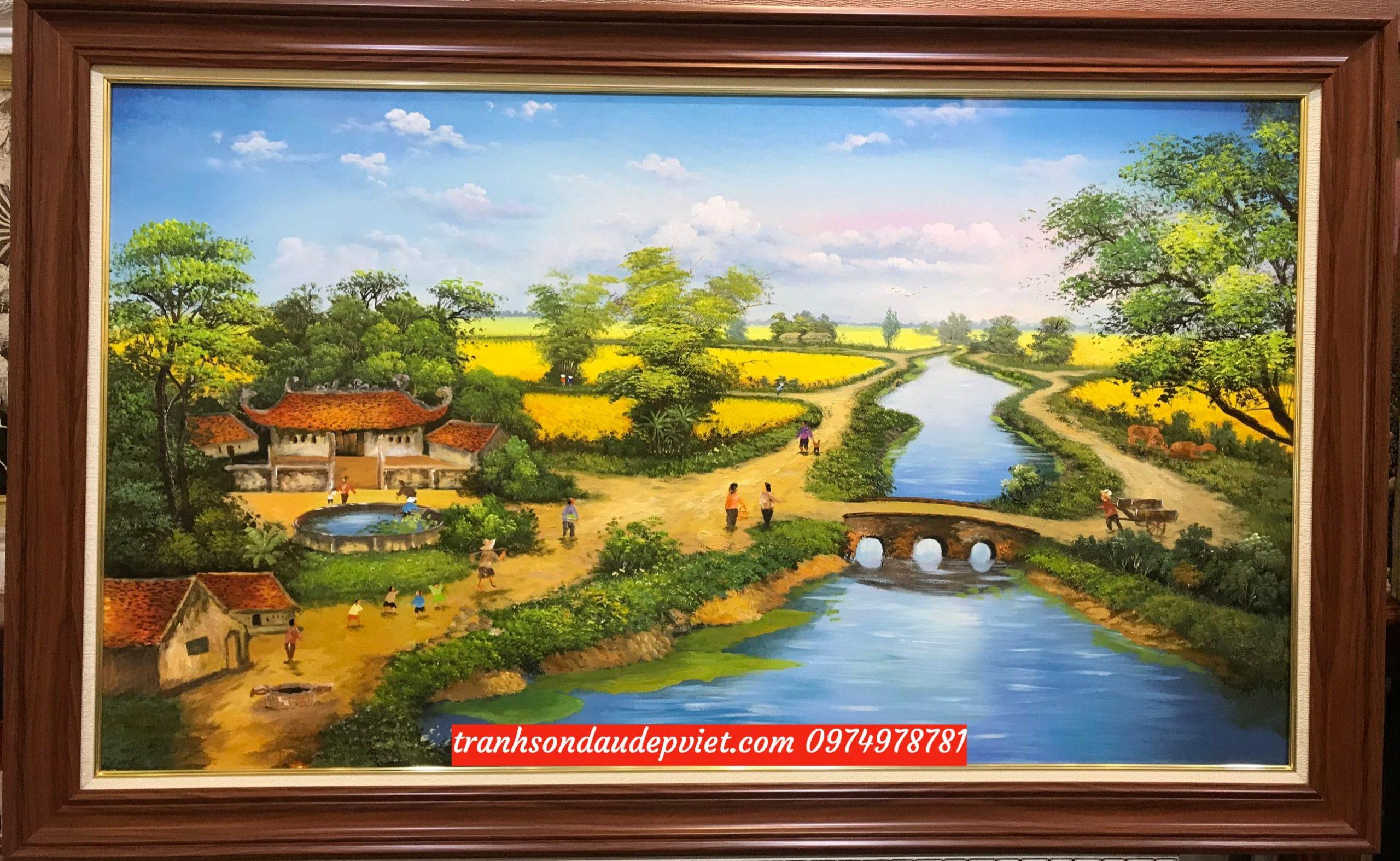 Tranh đồng quê việt nam, tranh sơn dầu phong cảnh đồng quê  SB093