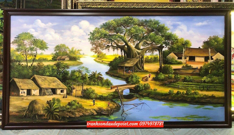Tranh sơn dầu đồng quê, phong cảnh đồng quê SB084