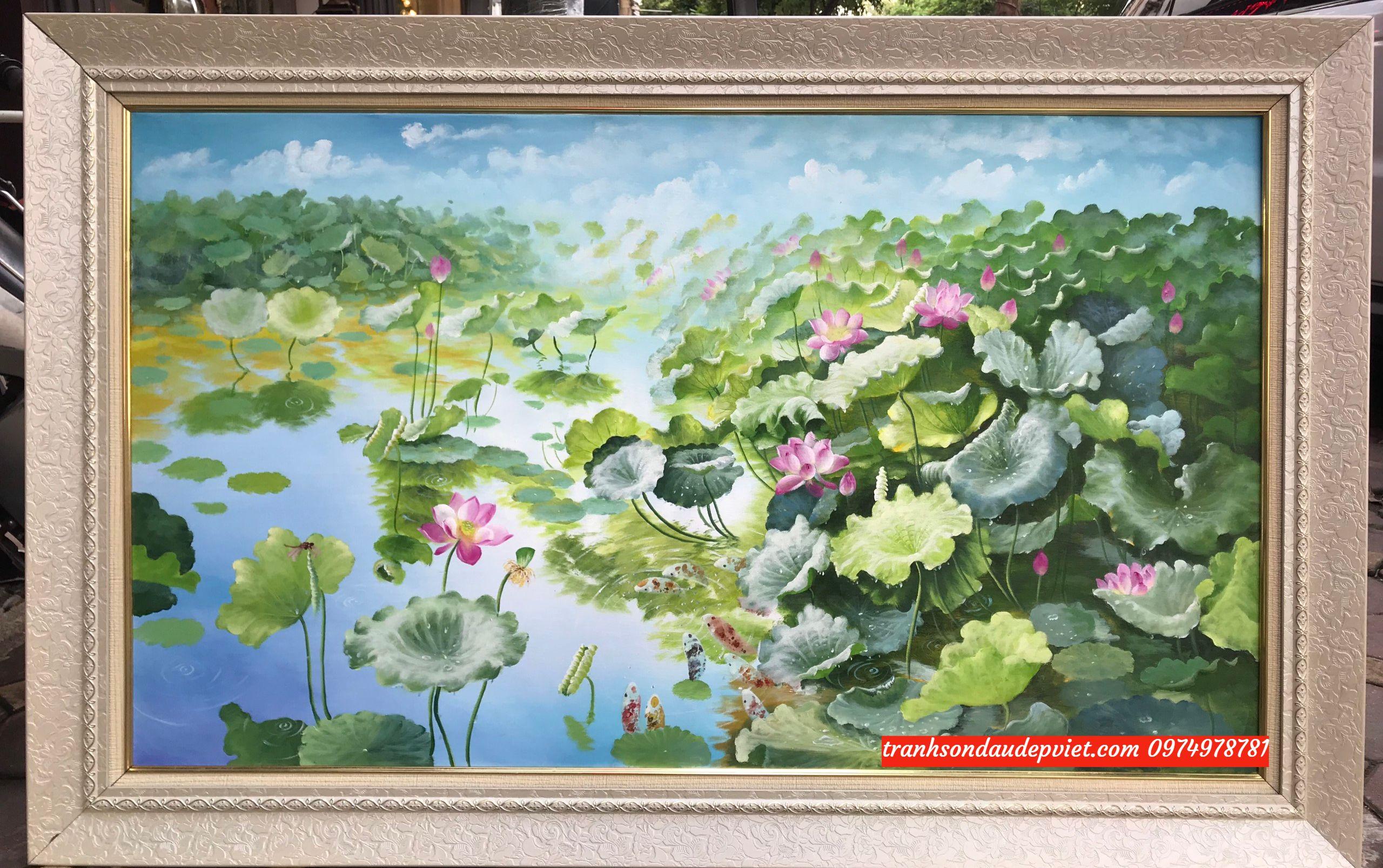 Tranh phong cảnh hoa sen, tranh sơn dầu đầm sen ý nghĩa SB083