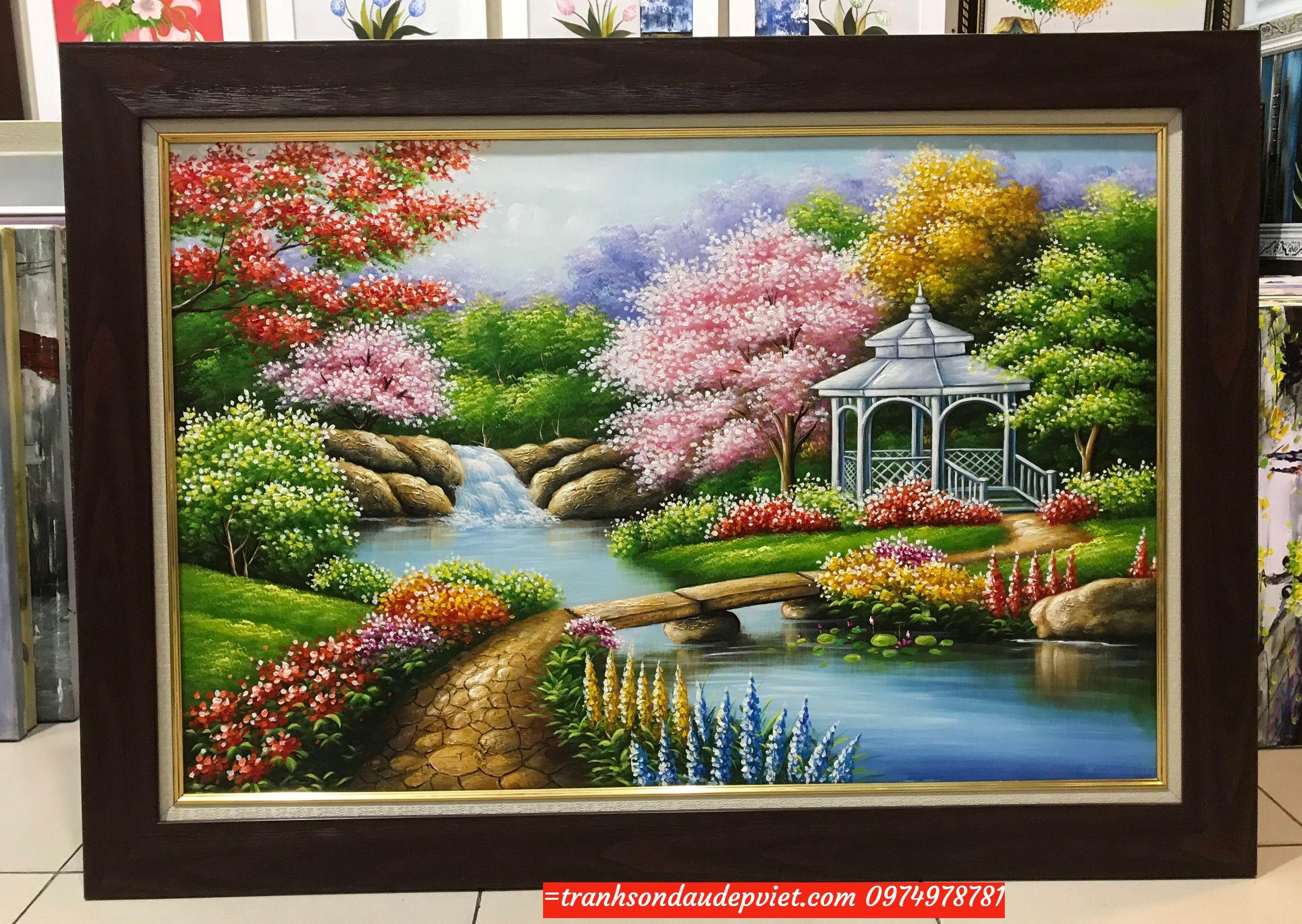 Tranh sơn dâu phong cảnh nước ngoài ý nghĩa SB086