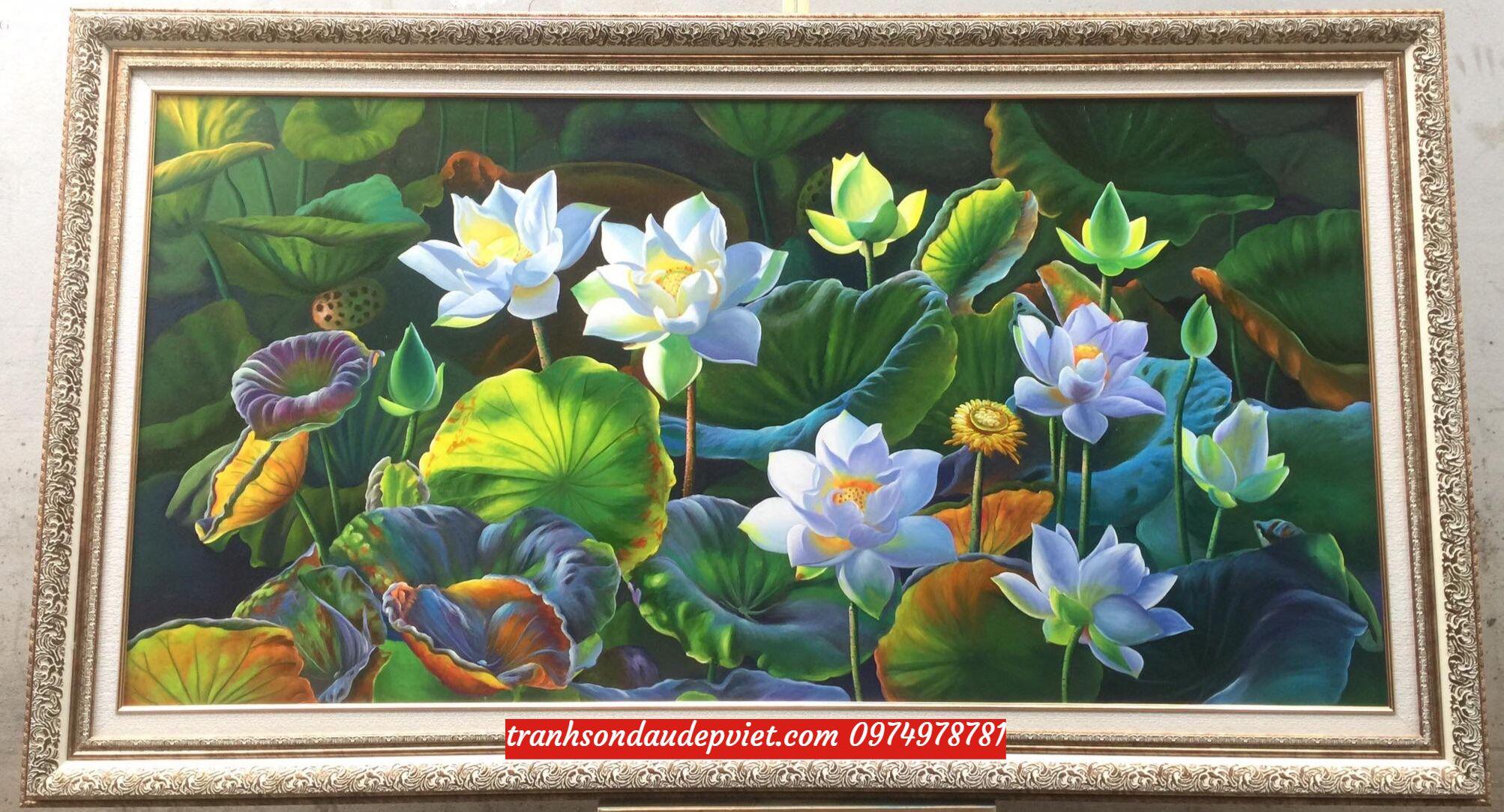Tranh sơn dầu hoa sen treo tường phòng khách