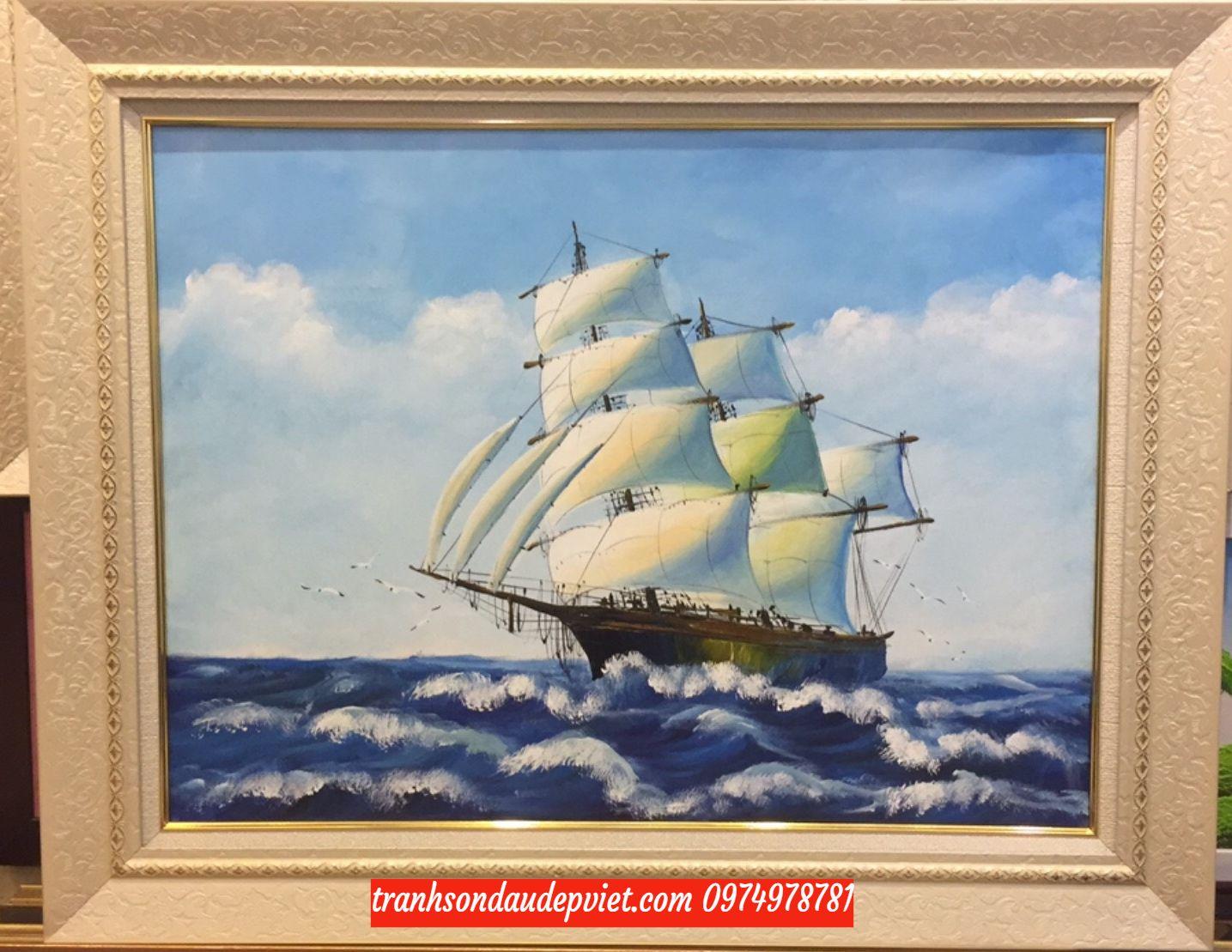 Tranh thuận buồm xuôi gió, tranh vẽ sơn dầu đẹp SB088