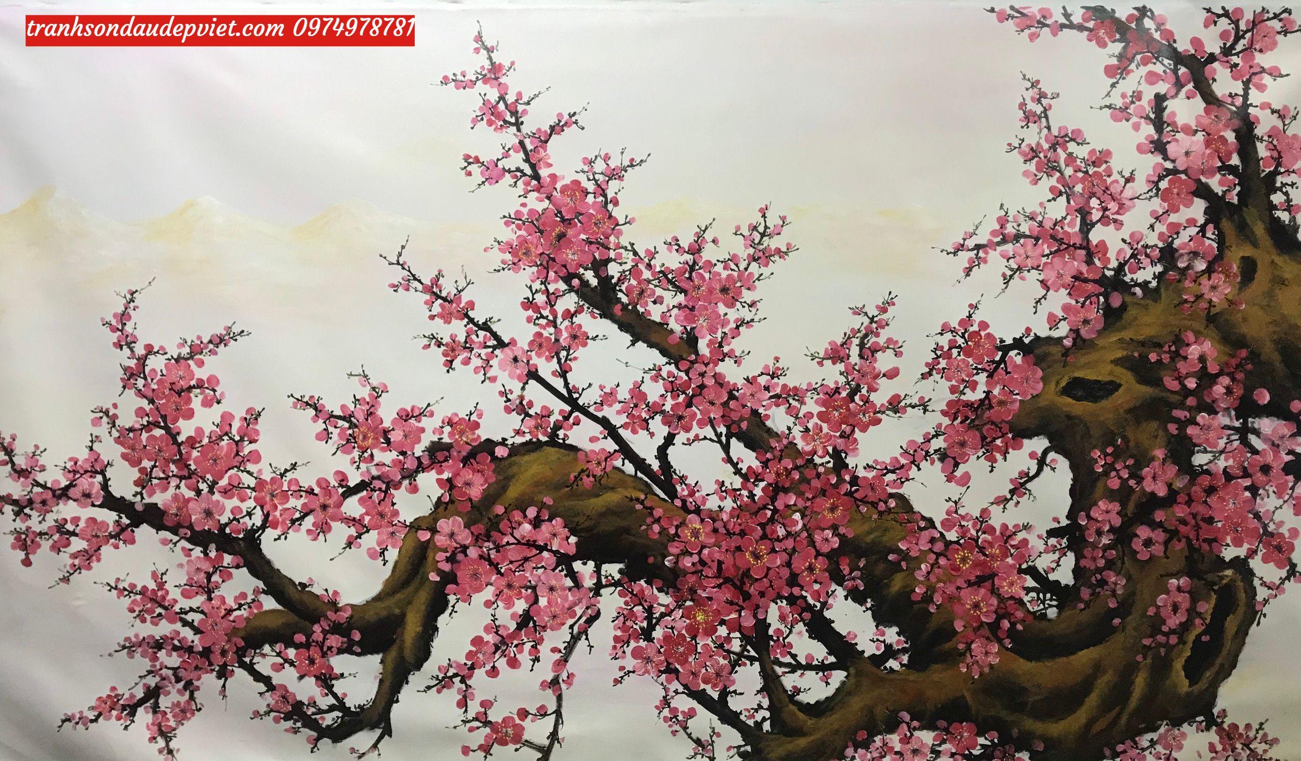 Tranh hoa đào ý nghĩa, tranh sơn dầu hoa đào SB102