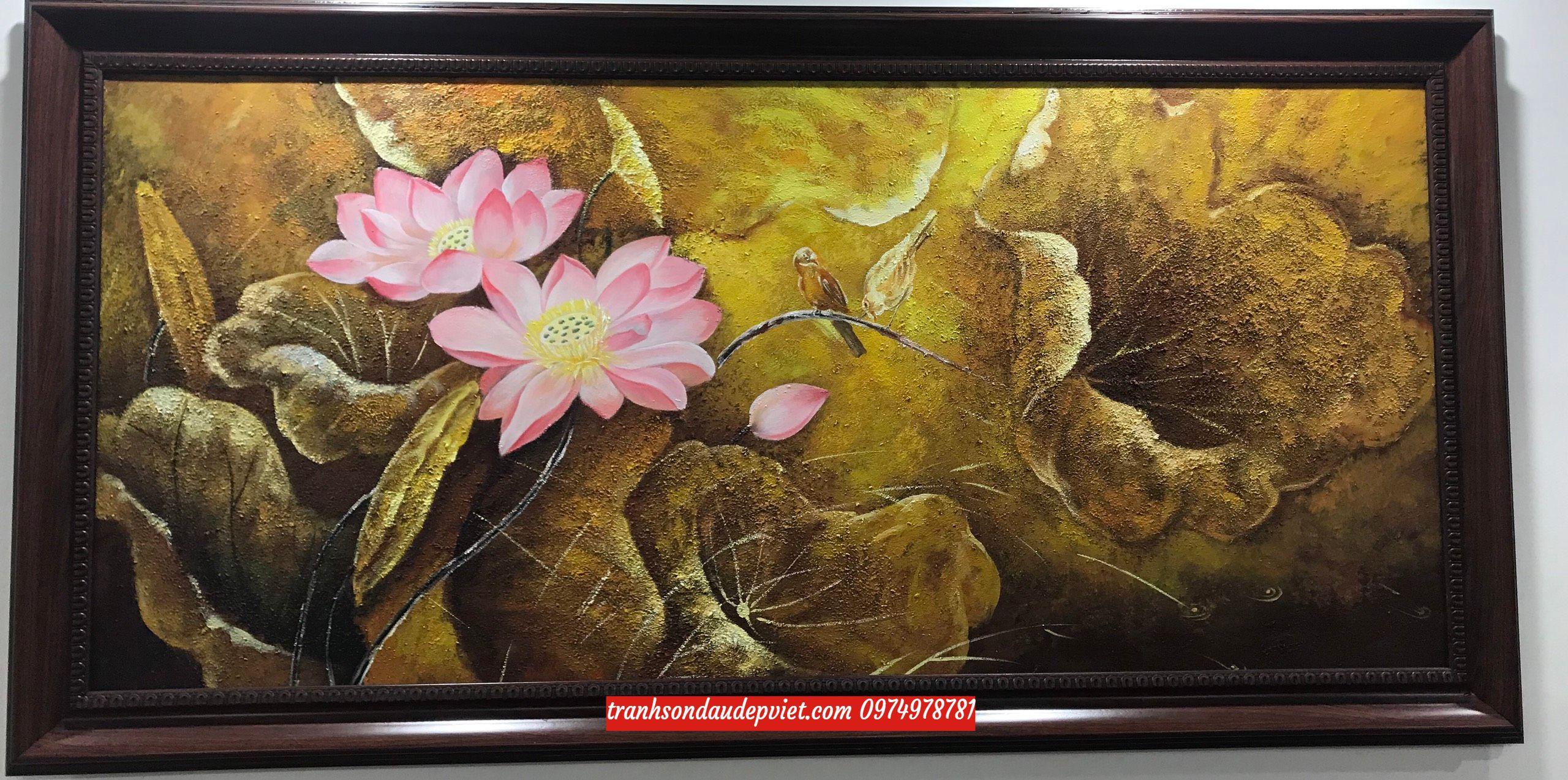 Tranh hoa sen, tranh sơn dầu hoa sen đẹp ấn tượng SB101