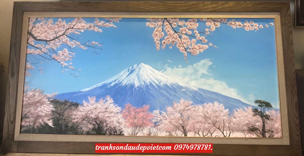 Tranh núi phú sĩ ,tranh sơn dầu phong cảnh núi phú sĩ SB100