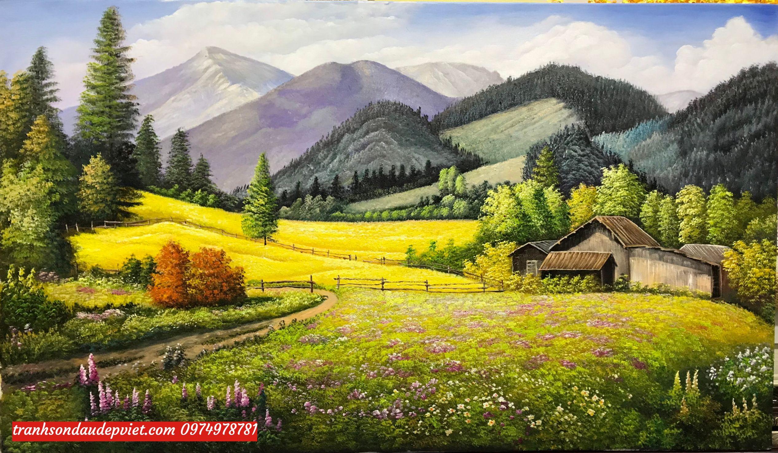 Tranh phong cảnh đẹp, tranh sơn dầu SB095