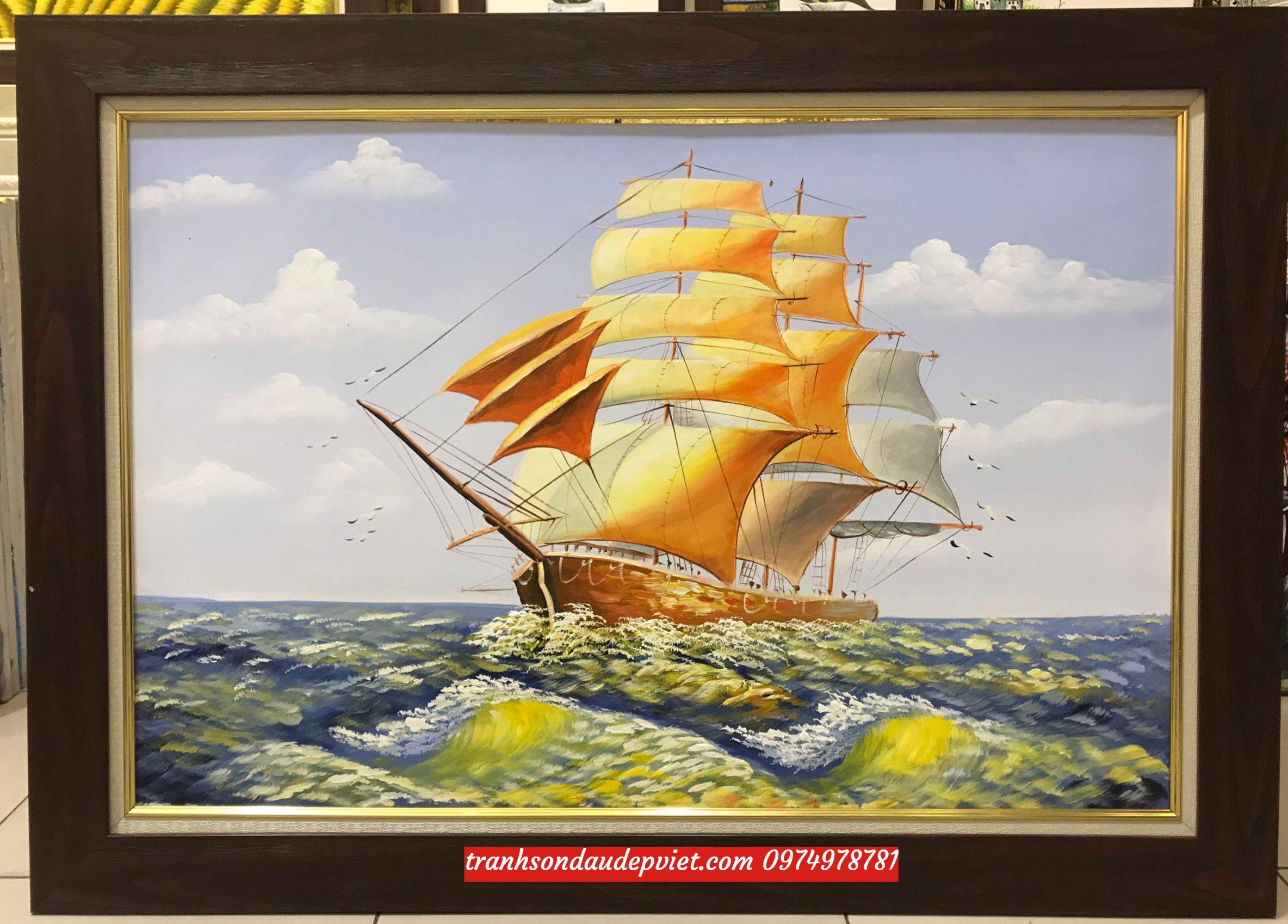 Tranh thuận buồm xuôi gió đẹp,Tranh sơn dầu SB096