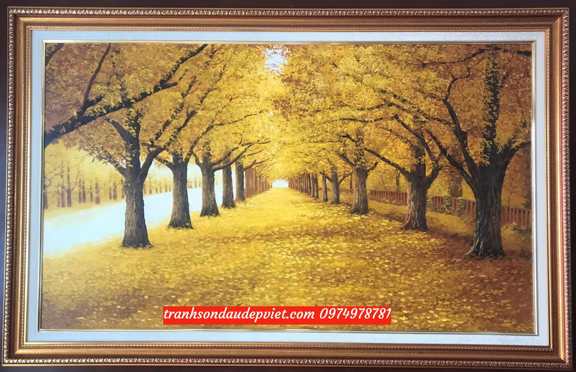 Tranh mua thu lá vàng, hai hàng cây mùa thu lá vàng SB103