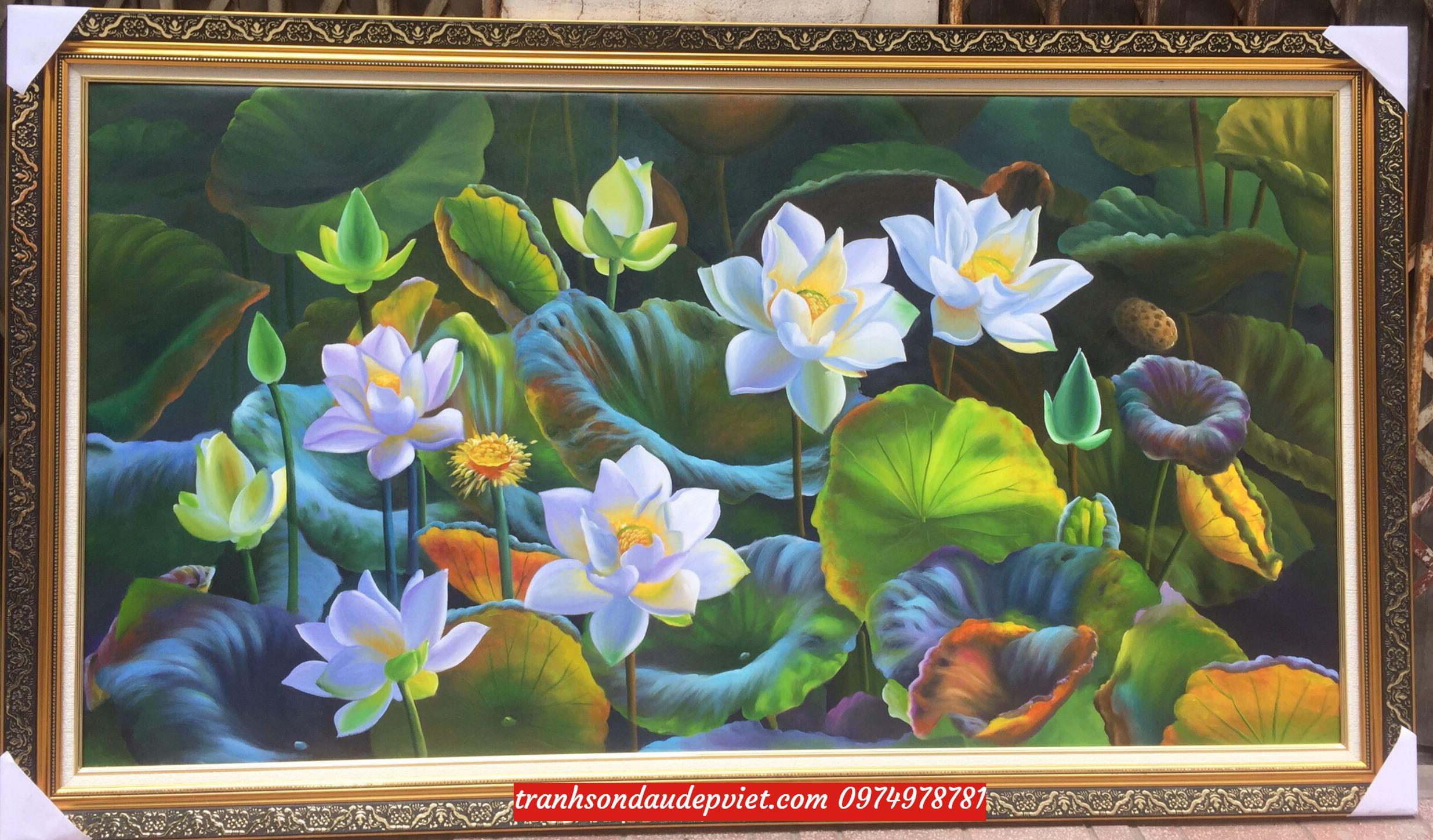 Tranh sen hoa sen ý nghĩa, tranh sơn dầu SB122