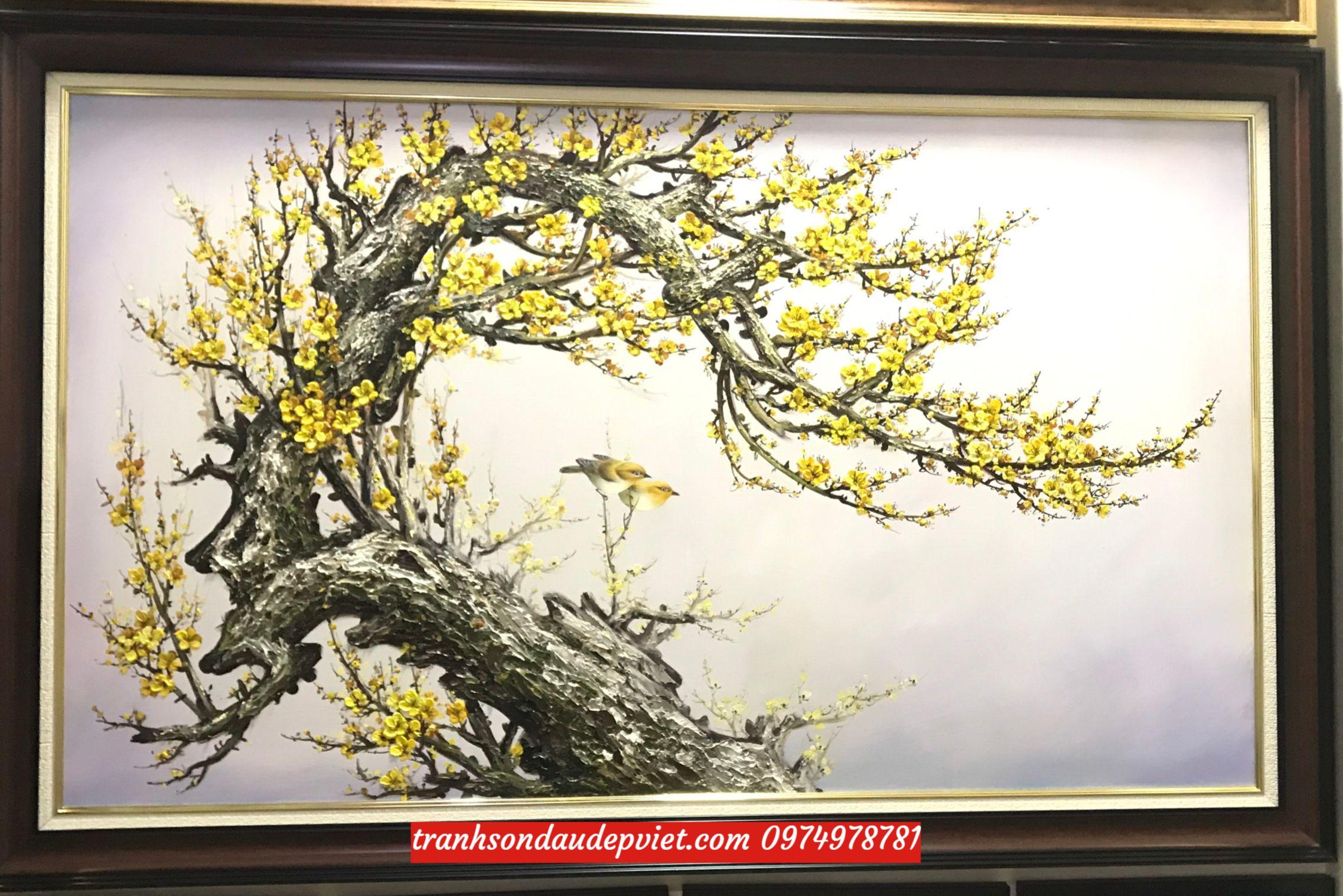 Tranh hoa mai, tranh sơn dầu hoa mãi vàng SB126
