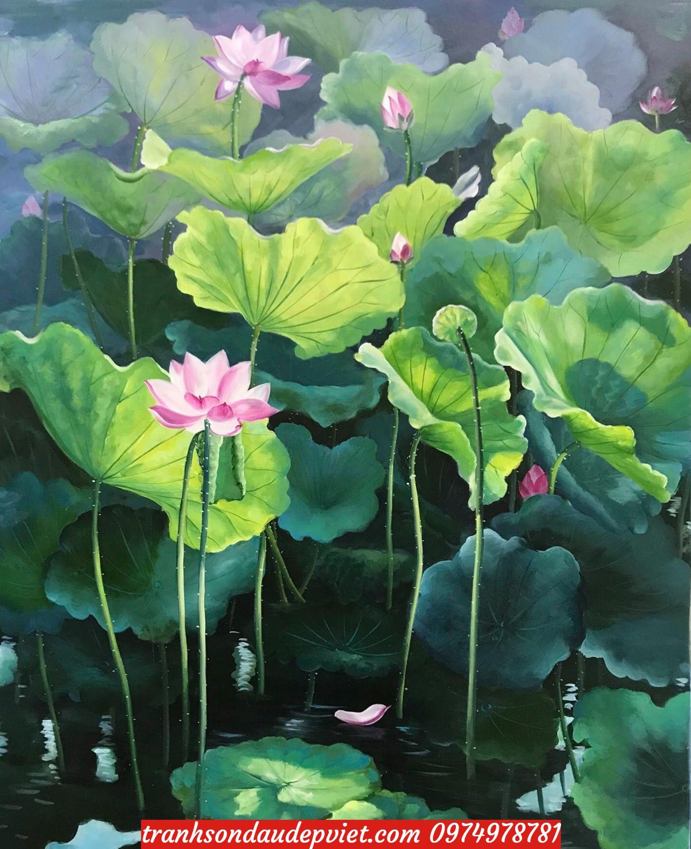 Tranh hoa sen, tranh sơn dầu hoa sen SB168