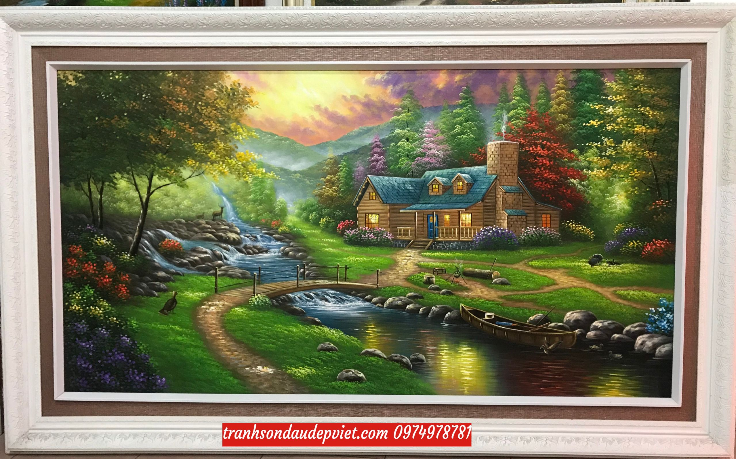 Tranh phong cảnh nước ngoài, tranh sơn dầu phong cảnh đẹp SB174