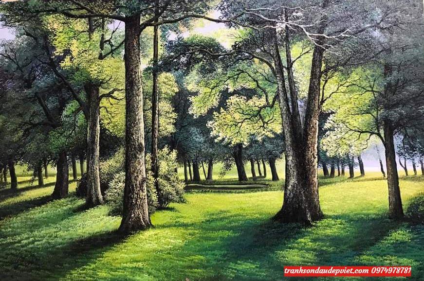 tranh phong canh rừng cây