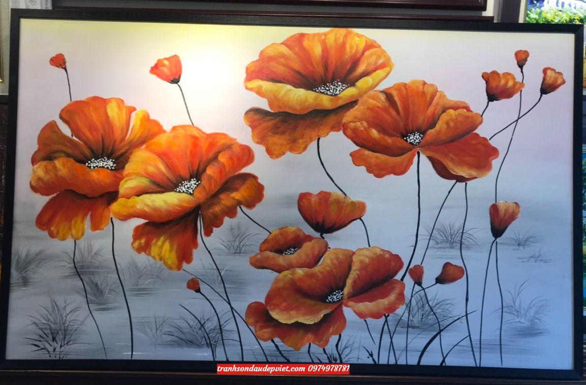 Tranh hiện đại, tranh sơn dầu hoa pupi SB194
